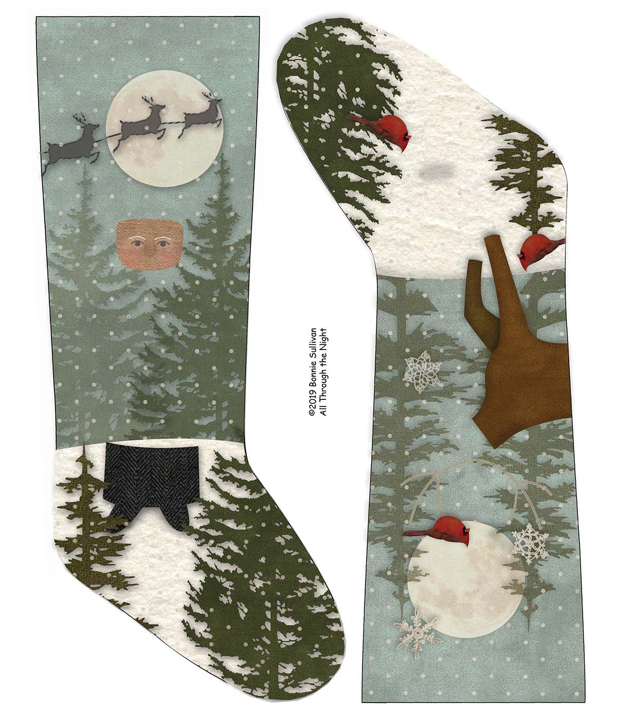 F1911 - Jingle Bells Stockings Preprinted Fabric