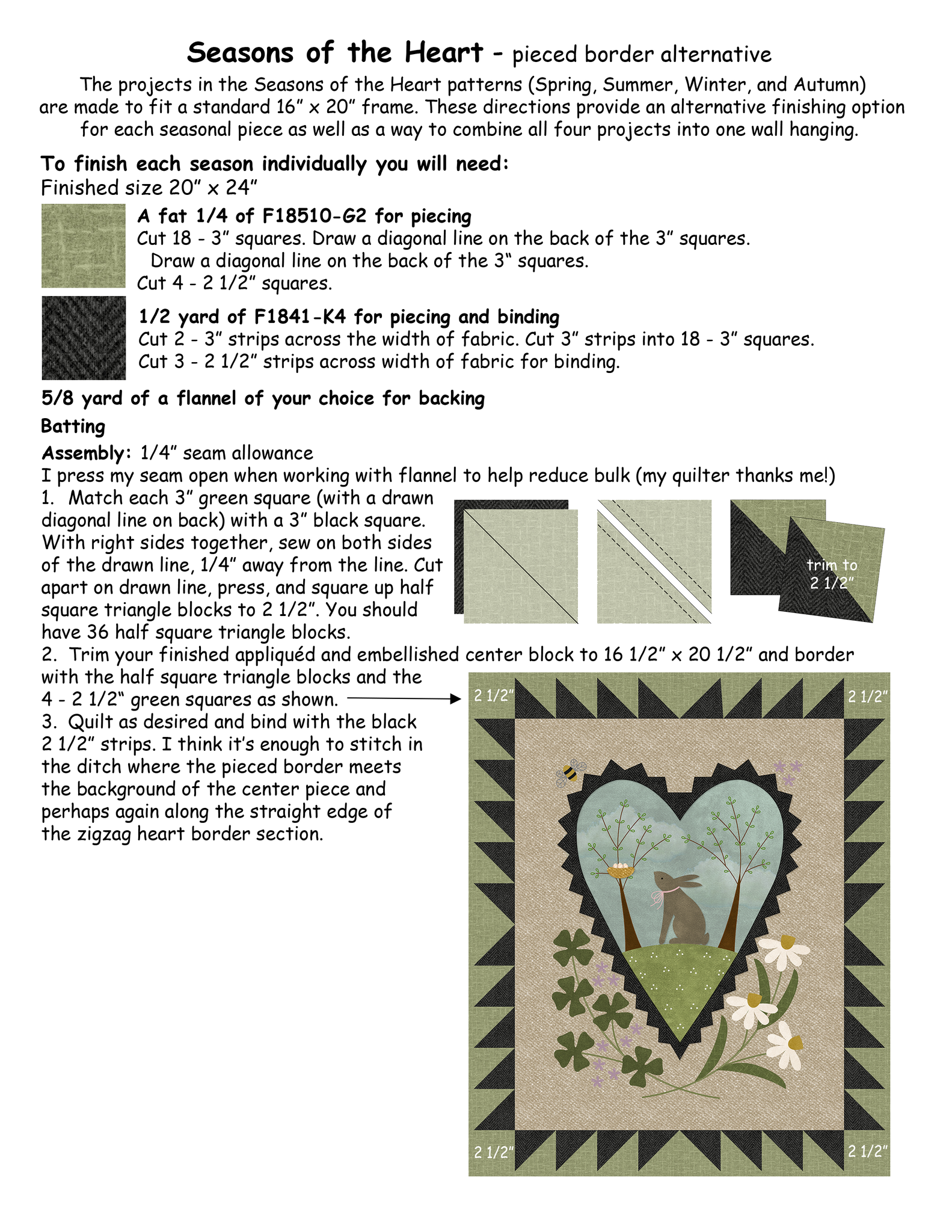 Free Download - Seasons of the Heart alternative finishing directions
