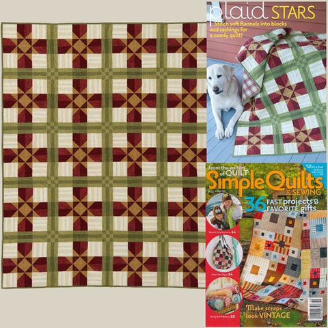 Plaid Stars Quilt Fabric Kit - *Free Shipping Within the US*