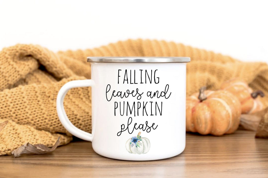 Falling leaves and pumpkin please coffee mug