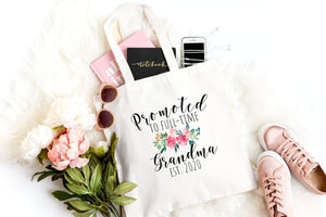 Promoted To Grandma Est 2020 tote bag