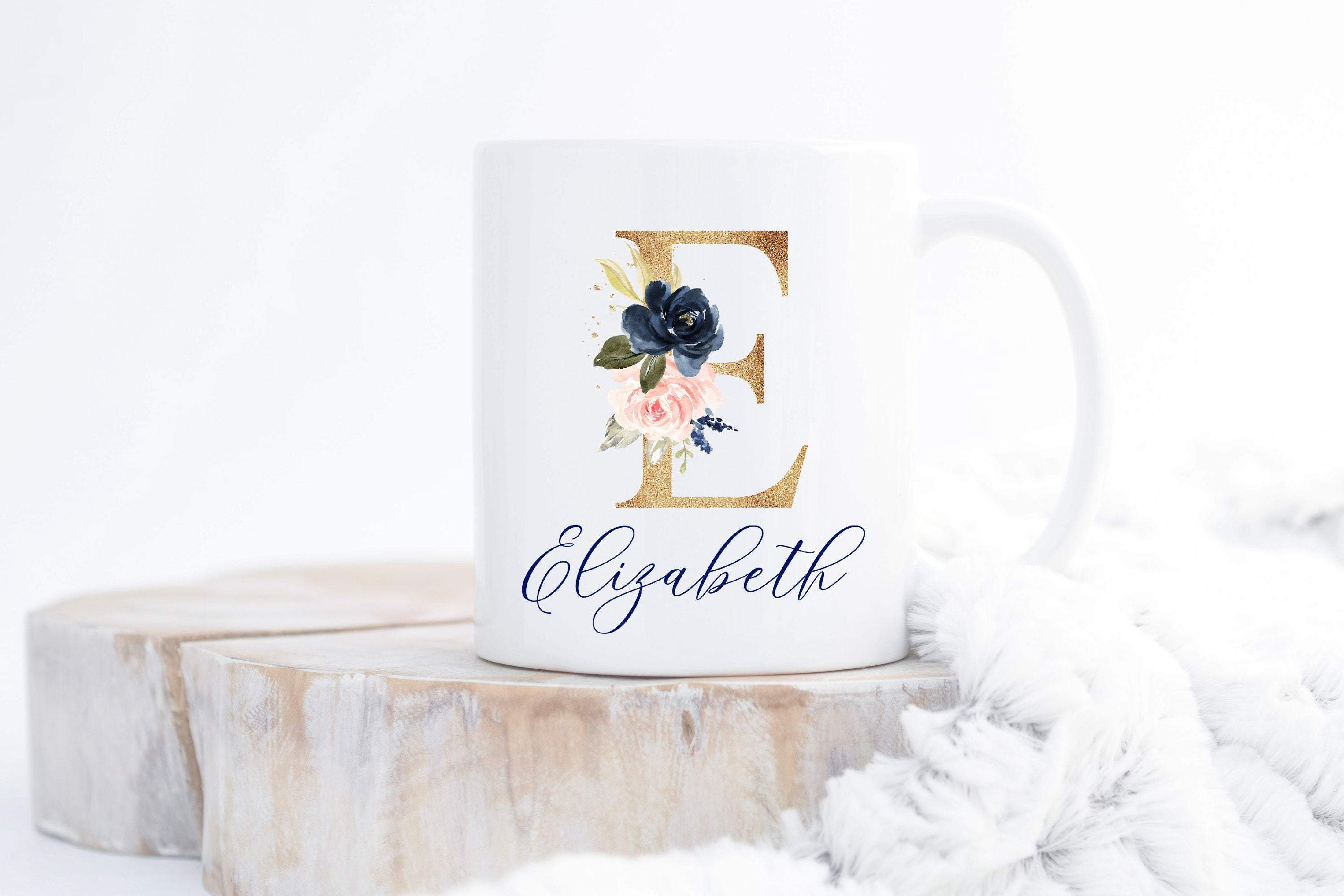 Floral mug with initial