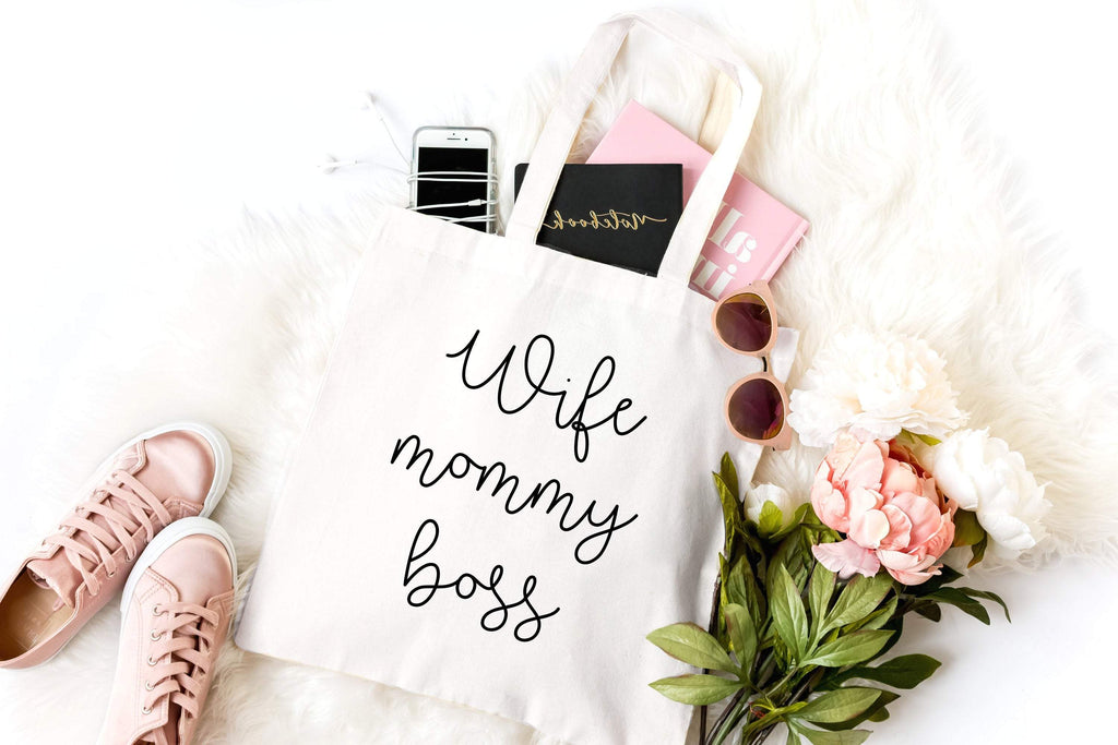 Wife mommy boss canvas tote bag