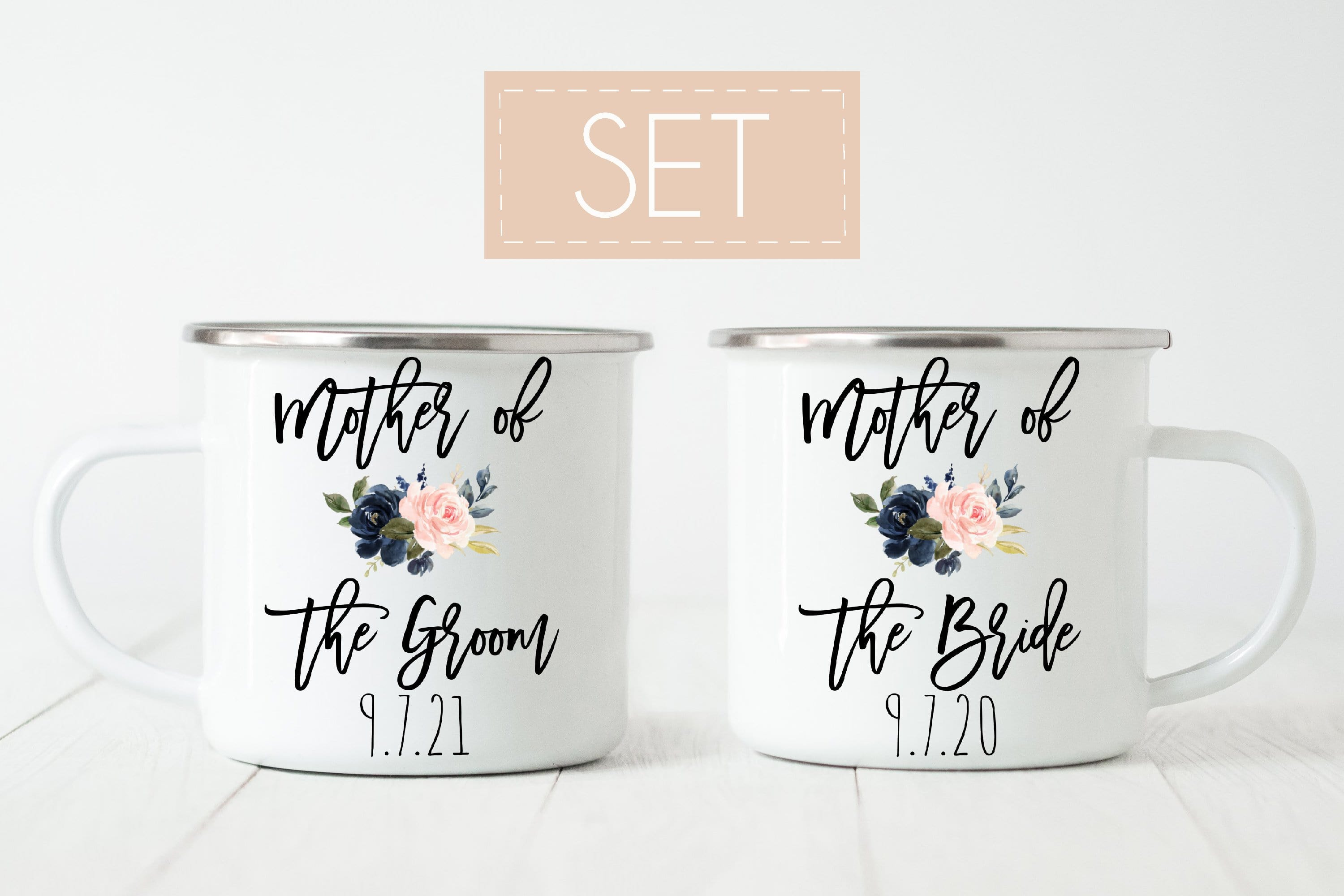 Mother of bride and groom mugs set of 2