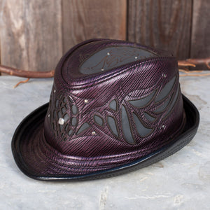 Sassafras Fedora | Purple & Gray Leather | Silver Hardware | 7 1/2 Hat size | 23.5 Inch Head | IN STOCK