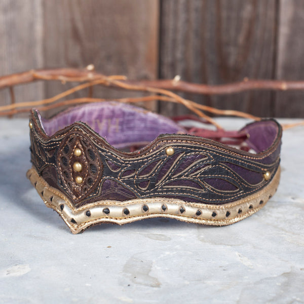 Elven Crown | Purple , Gold & Navy Leather | OSFA | IN STOCK