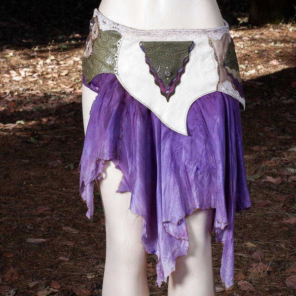 Starfire Skirt Belt | Olive, Pearl & Purple Leather Skirt | Hand Dyed Purple Silks | S/M | IN STOCK