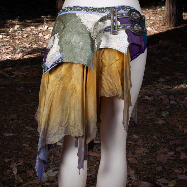 Starfire Skirt Belt | Olive, Cream & Purple Leather Skirt | Hand Dyed Lavender/Warm Silks | S/M | IN STOCK