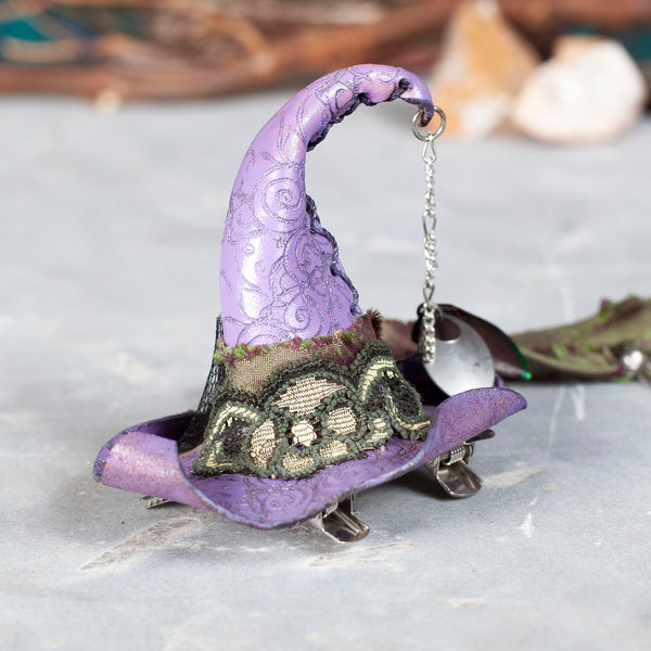 Teeny Tiny Witch Hat | Fascinator | Barrette | Feathers | Olive Lace | Tassle | IN STOCK