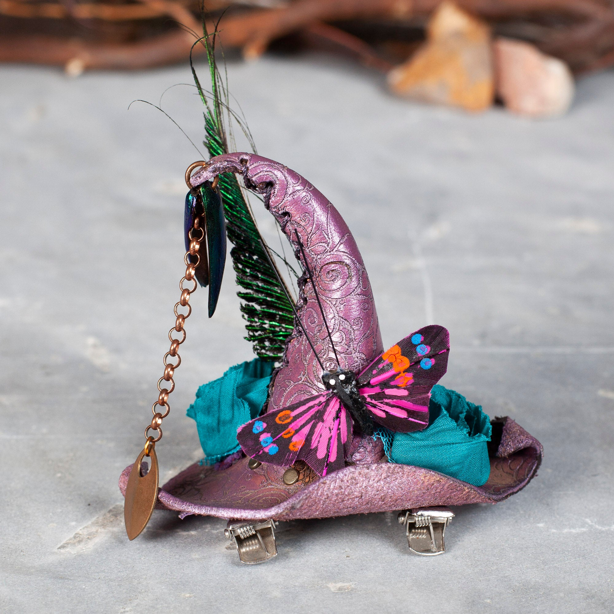Teeny Tiny Witch Hat | Fascinator | Barrette | Lace | Beetle Wings | IN STOCK