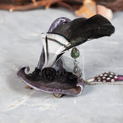 Teeny Tiny Witch Hat | Fascinator | Barrette | Silver Lavender | Black Feathers | IN STOCK