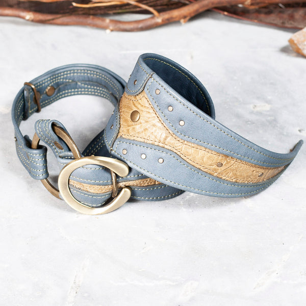 Gladius Tie | Slate Blue & Olive Floral Embossed Leather | Tarnished Brass Hardware | IN STOCK