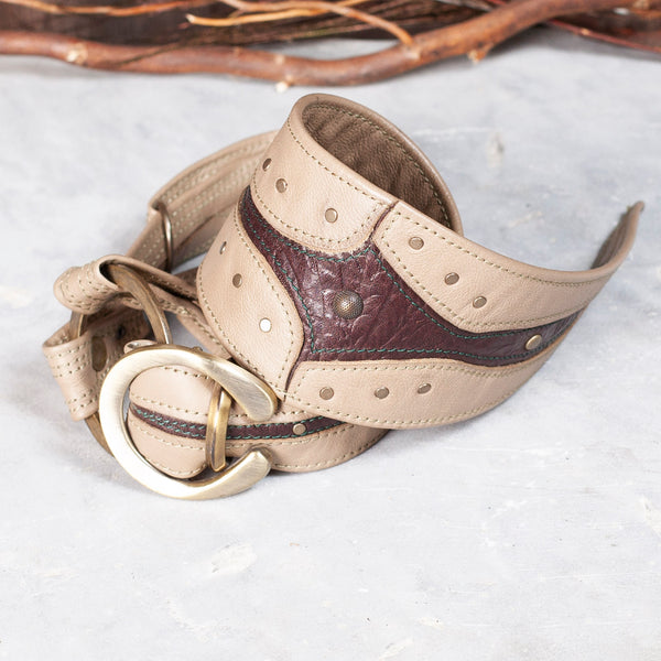 Gladius Tie | Sand & Brown Floral Embossed Leather | Tarnished Brass Hardware | IN STOCK