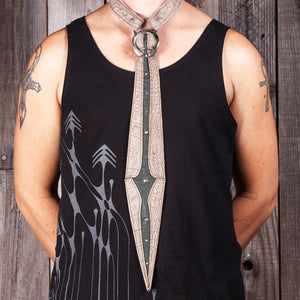 Gladius Tie | Gray Croc & Forest Green Leather | Silver Hardware | IN STOCK