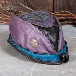"The Reveille | Black & Purple Floral Embossed Leather & Teal Lace | 21.5"" Head 