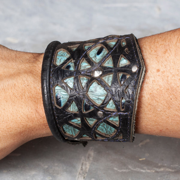 "Corvid Cuff | Black & Turquoise Croc Leather | Silver Hardware | M/L | Adjustable 8.5"" - 11.5"" 