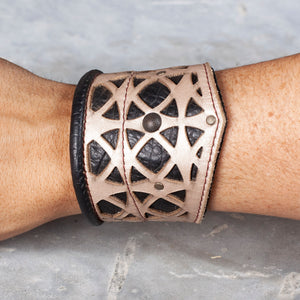 "Corvid Cuff | Beige & Black Leather | Tarnished Brass Hardware | M/L | Adjustable 8.5"" - 11.5"" 