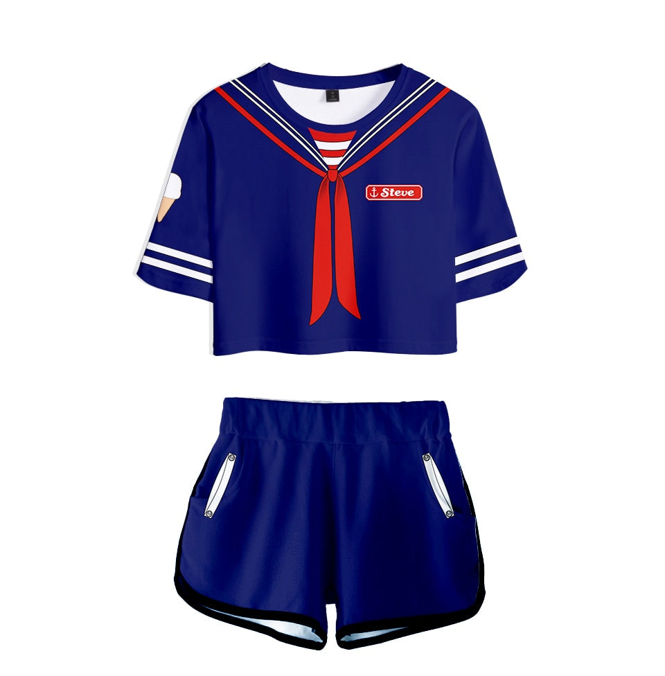 Stranger Things Crop Top and Shorts <br>Steve Scoops Ahoy