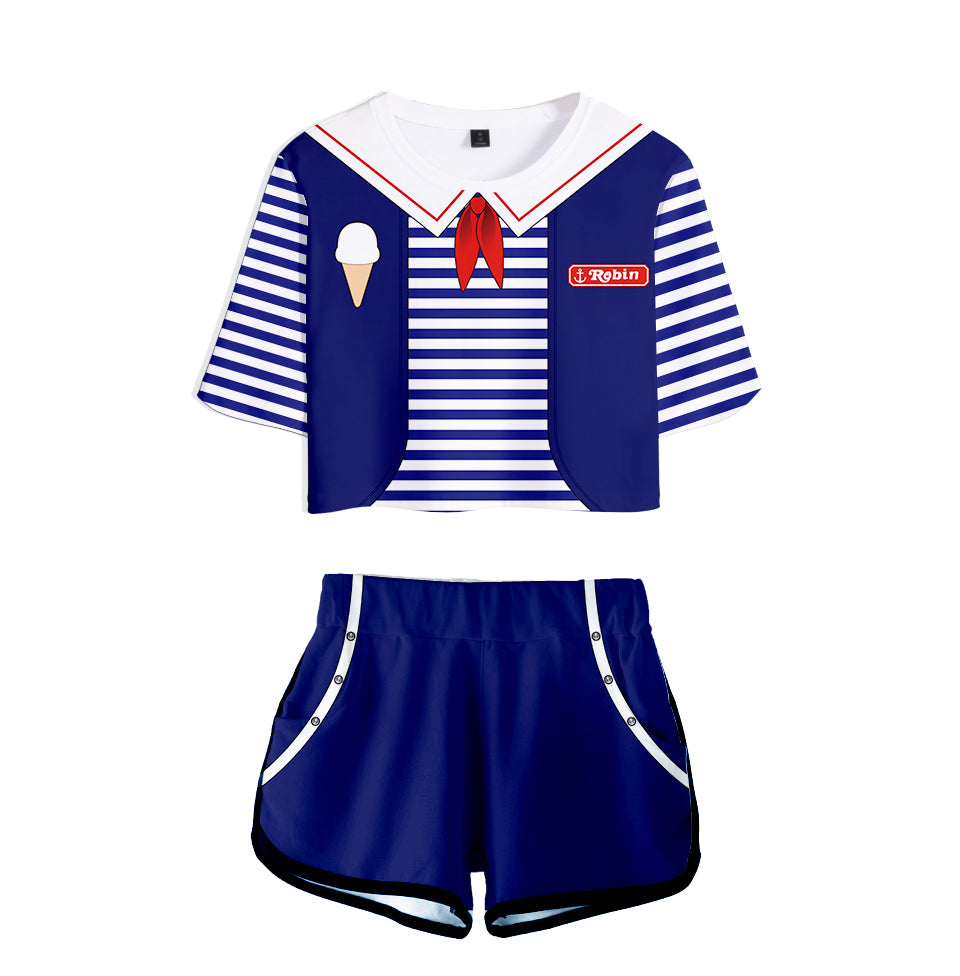 Stranger Things Crop Top and Shorts <br>Robin Scoops Ahoy
