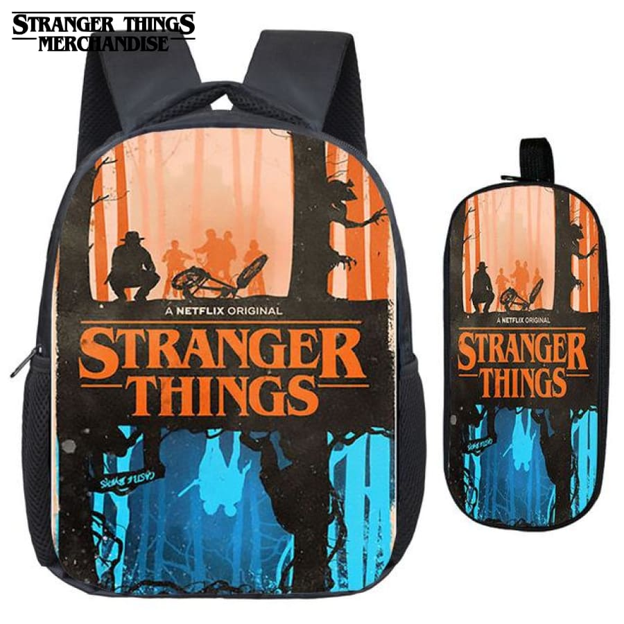 Stranger Things Backpack for School (FREE Pencil Case) <br> Blue and Orange