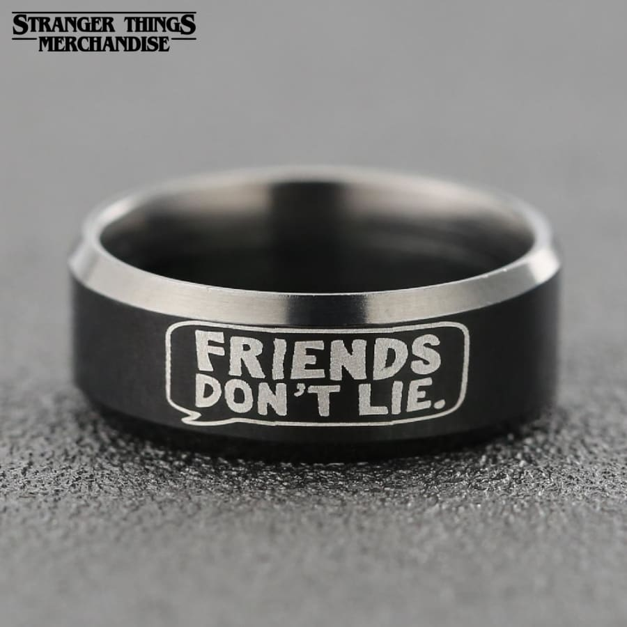 Stranger Things Ring <br>Friends Don't Lie (Steel)