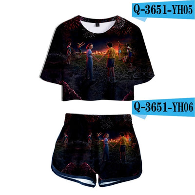 Stranger Things Crop Top and Shorts Season 3