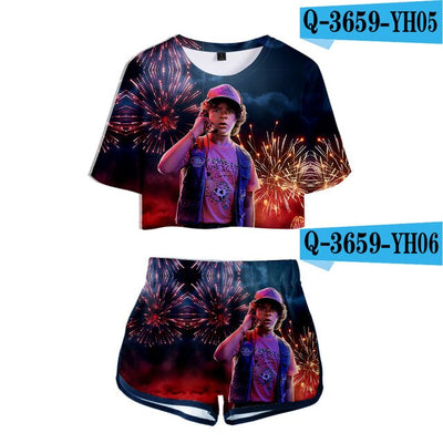 Stranger Things Crop Top and Shorts Dustin
