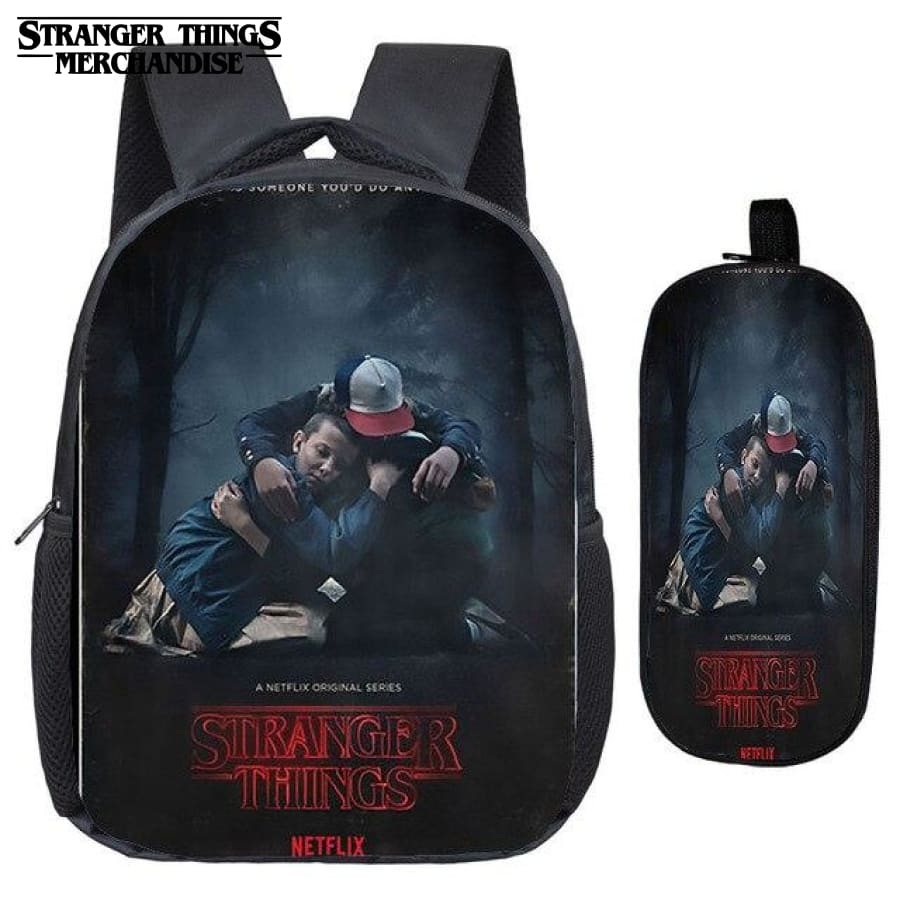 Stranger Things Backpack for School (FREE Pencil Case) <br> Red and Black