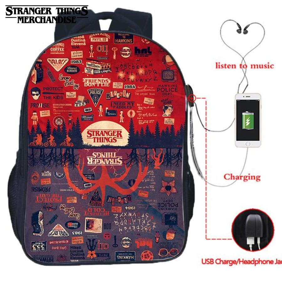 Stranger Things Backpack with Patches