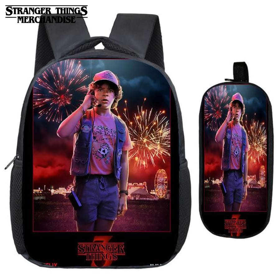 Stranger Things Backpack for School (FREE Pencil Case) <br> Dustin