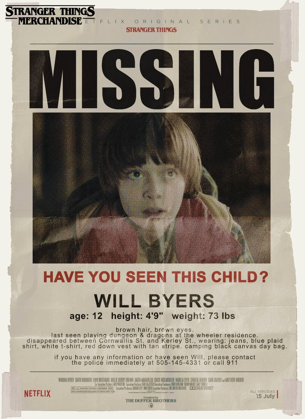 Stranger Things Poster <br> Will Byers Missing