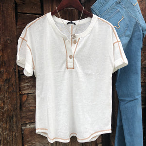 Grandby Button Front Tee
