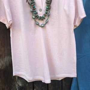 Grandby Blush Button Front Tee