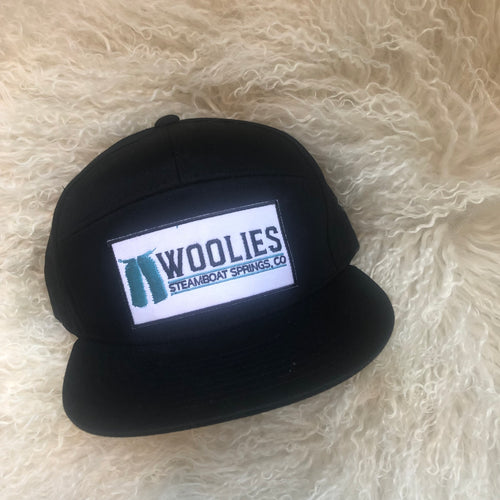 Woolies 7 Panel Black Patch Hats