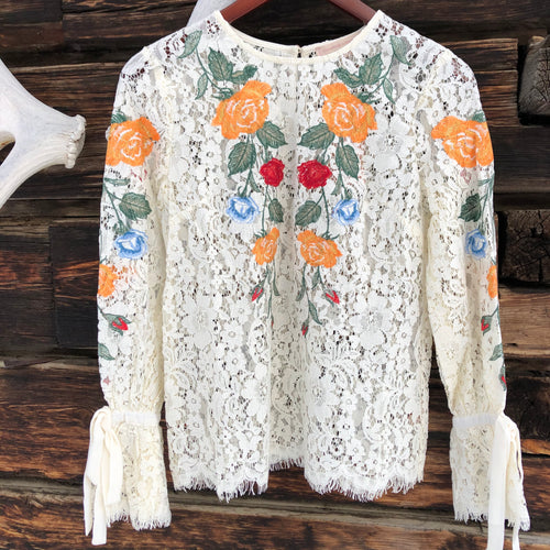 Rochester Embroidered Lace Top