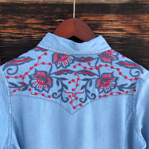 Electric Embroidered Pearl Snap {Indigo}