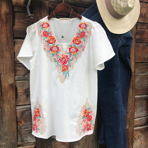 San Clemente Embroidered Top