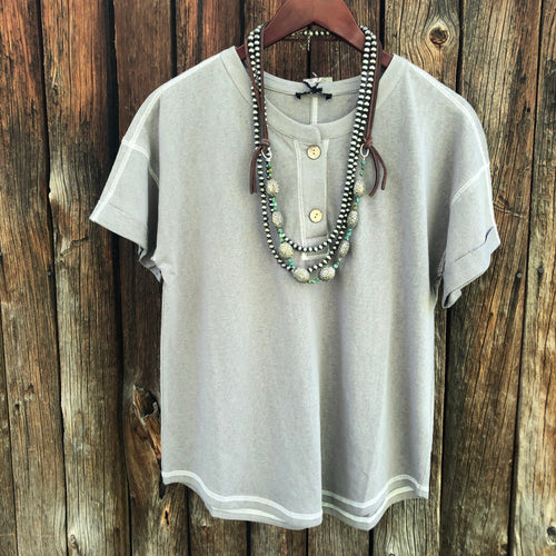 Grandby Gray Button Front Tee