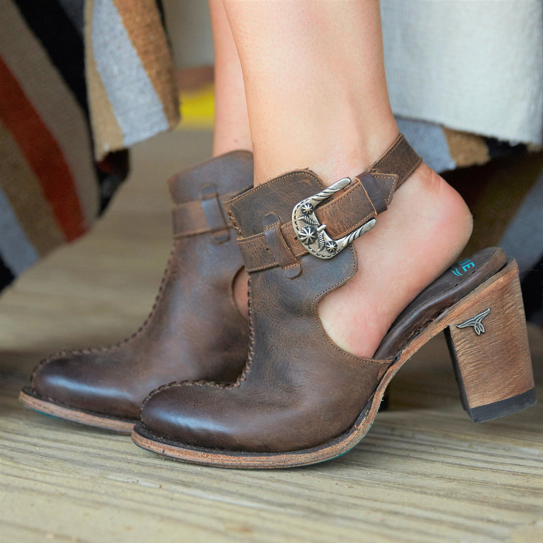 Lane Hailey Halfsie Booties in Cognac - Rural Haze