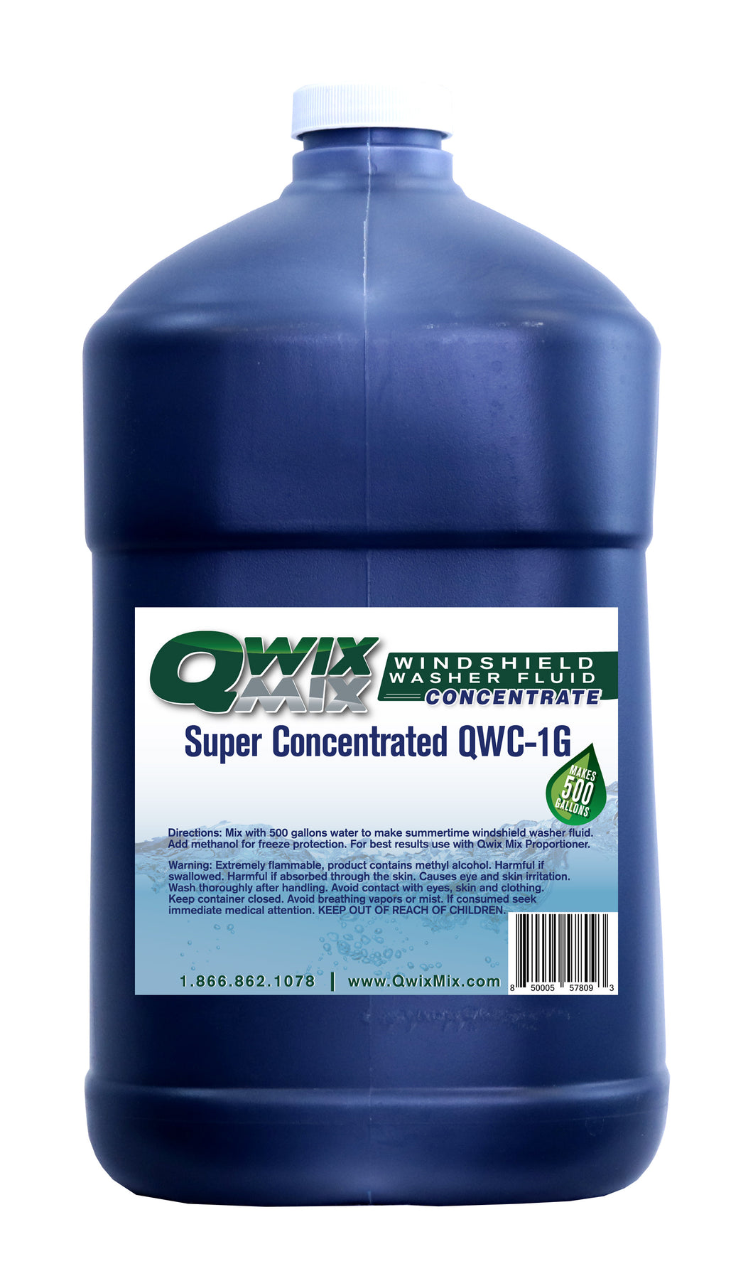 Qwix Mix 1 Gallon Jug of Biodegradable Concentrate For Making Bulk Windshield Washer Fluid. 1 Gallon of Concentrate Makes 500 Gallons