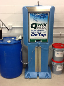 Installed Qwix Mix 80 Gallon Water-Driven Windshield Washer Fluid Proportioner. Used For Automatically Making And Storing Windshield Washer Fluid