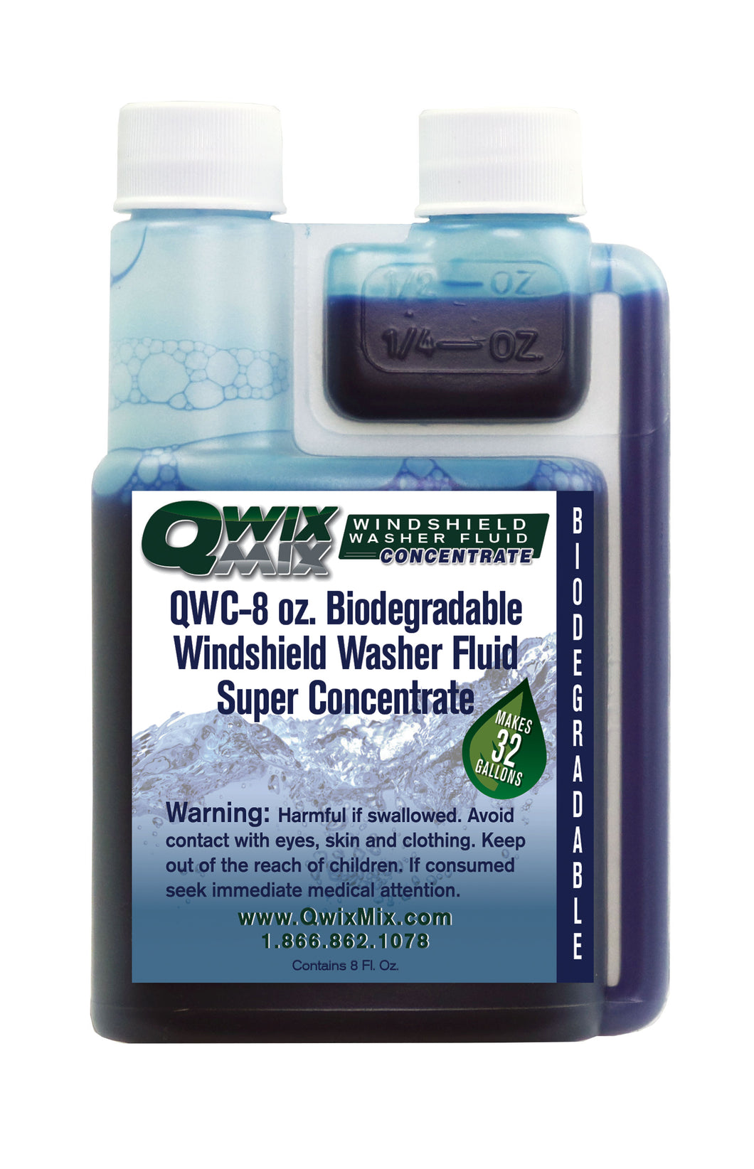 QWC-8 oz. Biodegradable Windshield Washer Fluid Concentrate
