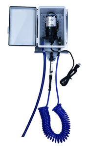 Qwix Mix Outdoor Windshield Washer Fluid Wall Mounted Dispenser For Dispensing From a 55 Gallon Drum, Tote or Tank. With Box Lid Open To Show The Pump.