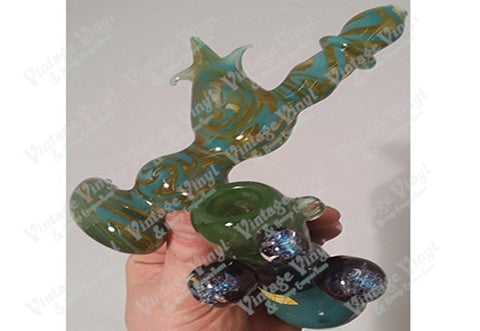 Custom Clear Green and Aqua Swirled Sidecar Bubbler w/ 3 Galaxy Marbles
