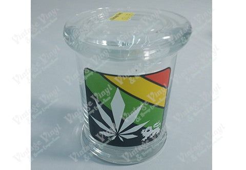 Rasta Leaf Crest Glass Jar