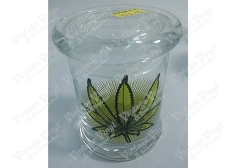 Green Leaf Glass Jar