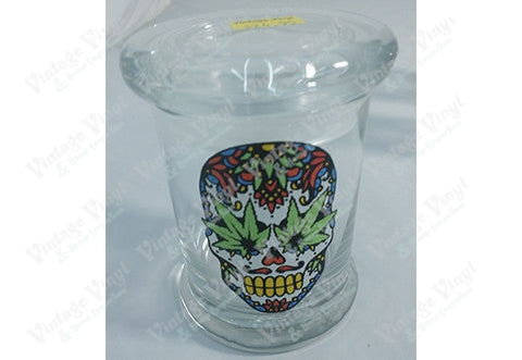 Sugar Leaf Skull Glass Jar