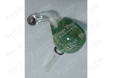 Clear with Green Swirl 12mm Bowl with Mushroom Handle