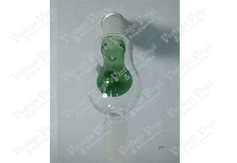 Clear and Green Bubbler Perc 14mm Bowl