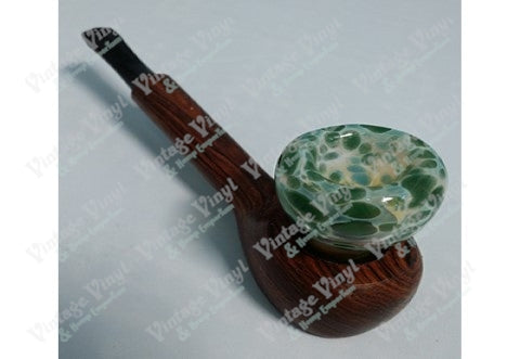 Wood Pipe With Green and White Glass Top
